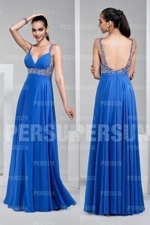 Sexy robe de soirée longue empire bleu azur à col v plongeant