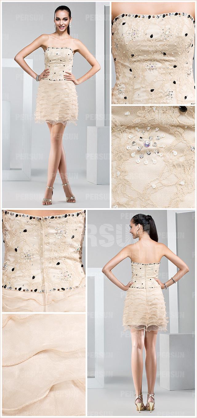 les détails de la robe de soirée courte