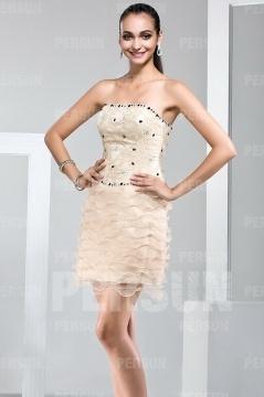 Mini robe champagne bustier à volant