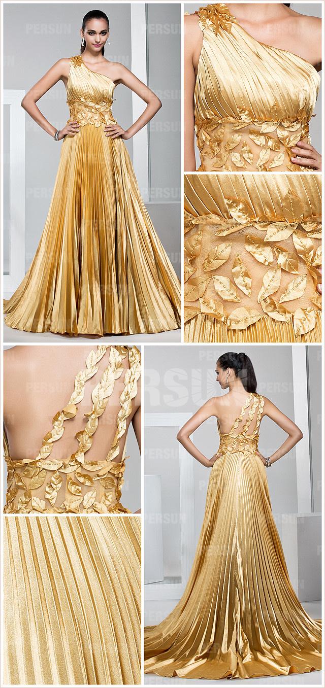 Robe soirée dorée magnifique asymétrique à jupe  plissée ornée de feuilles