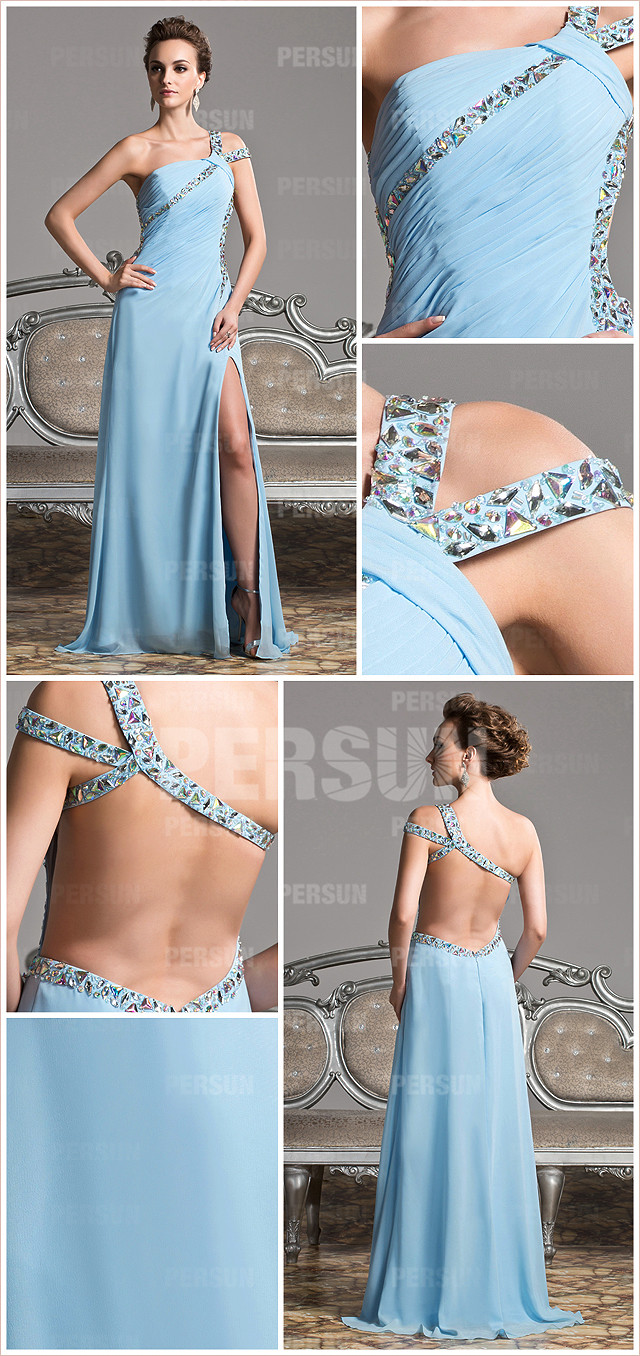 Chic robe bleu longue à col asymétrique & dos nu avec strass pour soirée