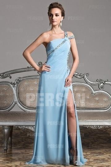 Sexy robe de gala asymétrique bleu pastel & dos nu & jupe fendue