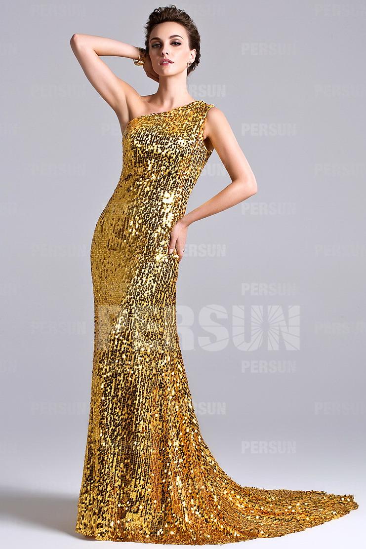 robe de soirée asymétrique dorée en sequin