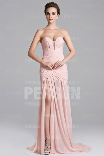 robe de soirée rose fendue sexy bustier coeur