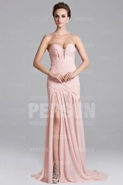 Sexy robe pastel longue à fente latérale