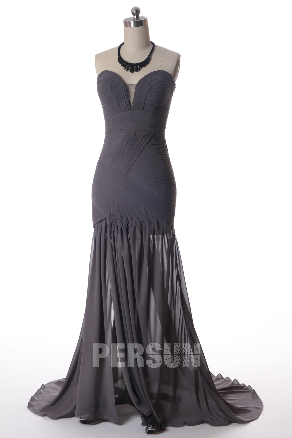 robe de soirée gris foncé bustier coeur plongeant