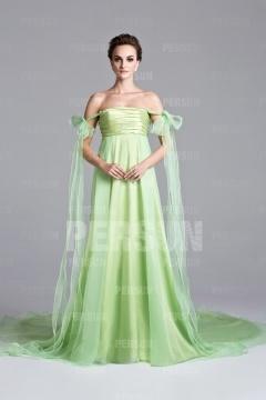 Robe empire féerique épaule dénudée verte pastel