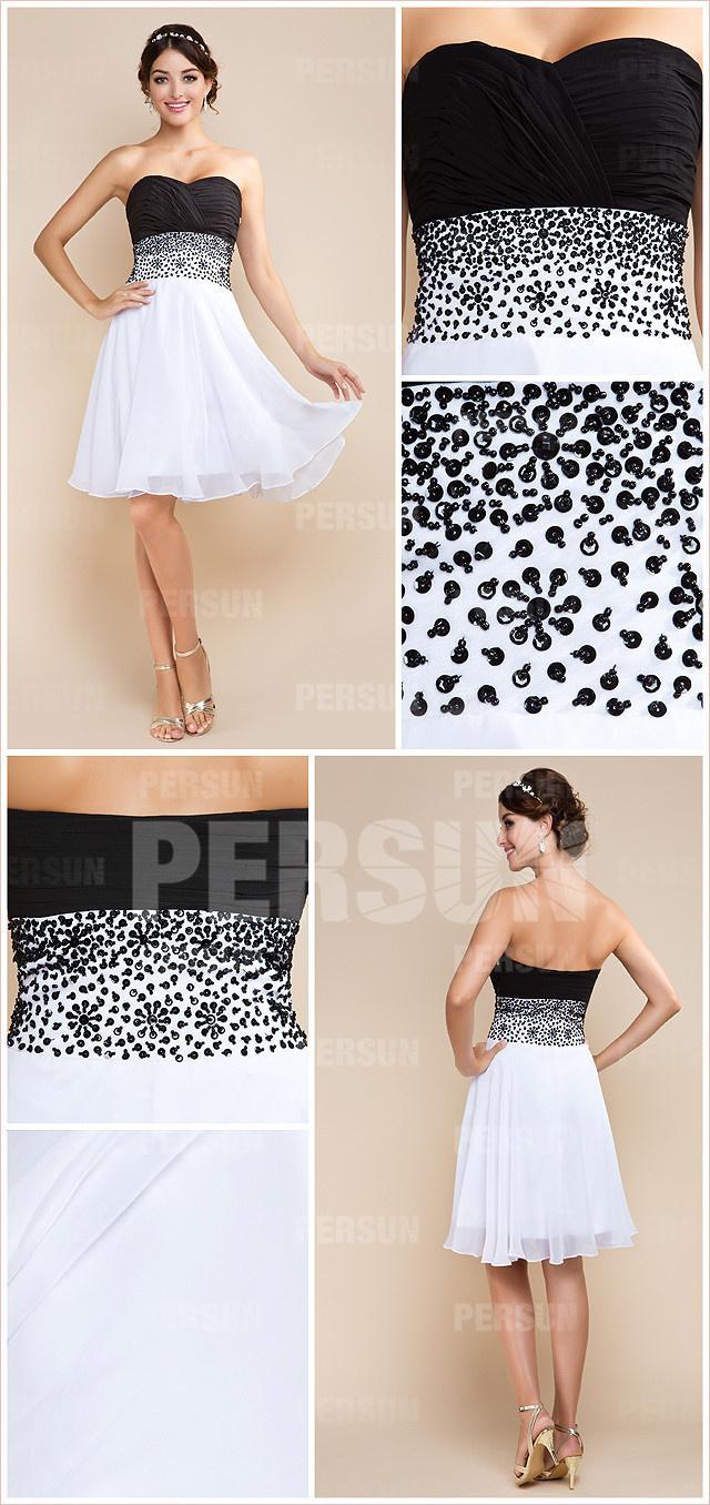 robe de soirée courte bicolore bustier cœur plissé avec sequins sur taille
