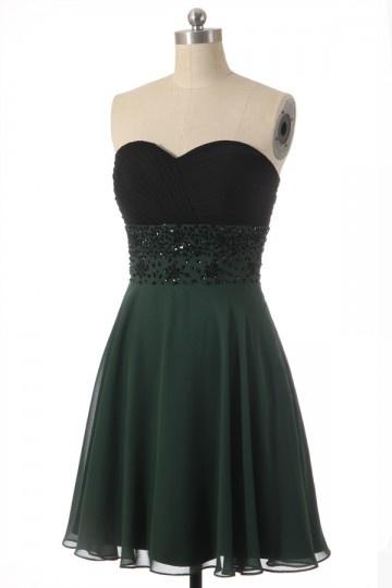 Courte robe bicolore à bustier noire