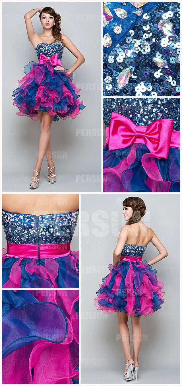princesse robe de soirée bustier cœur orné de bijoux & nœud de papillon fuchsia