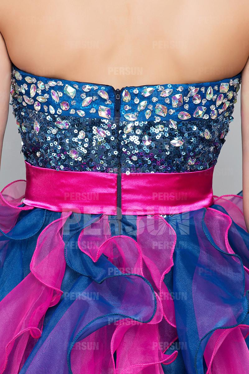 Robe de bal bustier cœur strassé fuchsia & bleu extravagant à nœud papillon