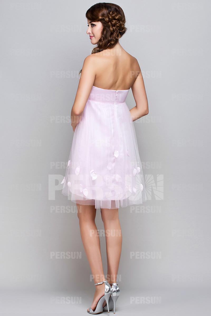 Petite robe rose cocktail bustier empire grossesse avec fleurs