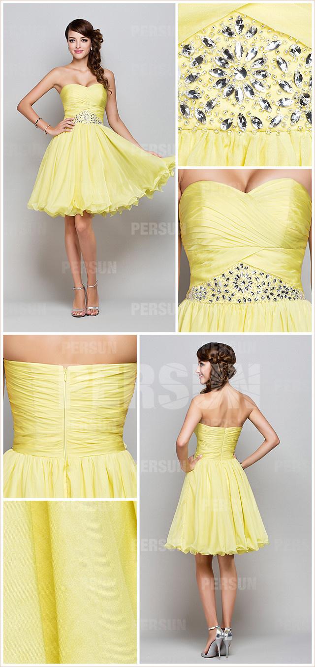 Robe jaune de bal courte  taille ornée de bijoux à jupe évasée