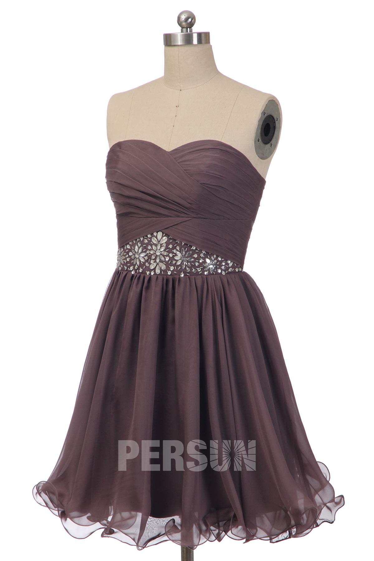 robe de bal courte gris bustier coeur taille embelli de cristaux