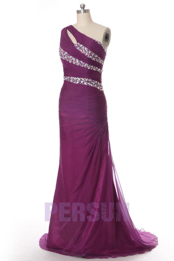 robe de soirée longue moulante violette asymétrique bustier plissé embelli de strass