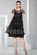 Knee length short formal dress with jewel neckline