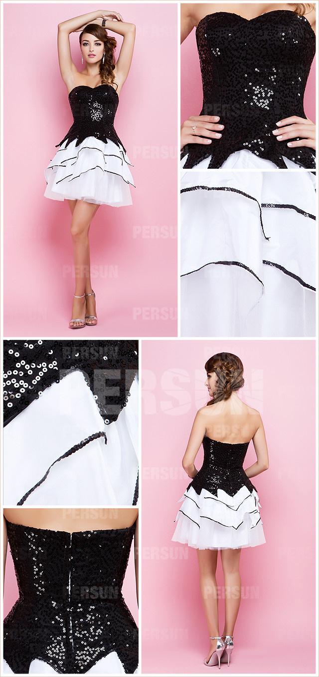 Petite robe noire et blanche à bustier pailletée