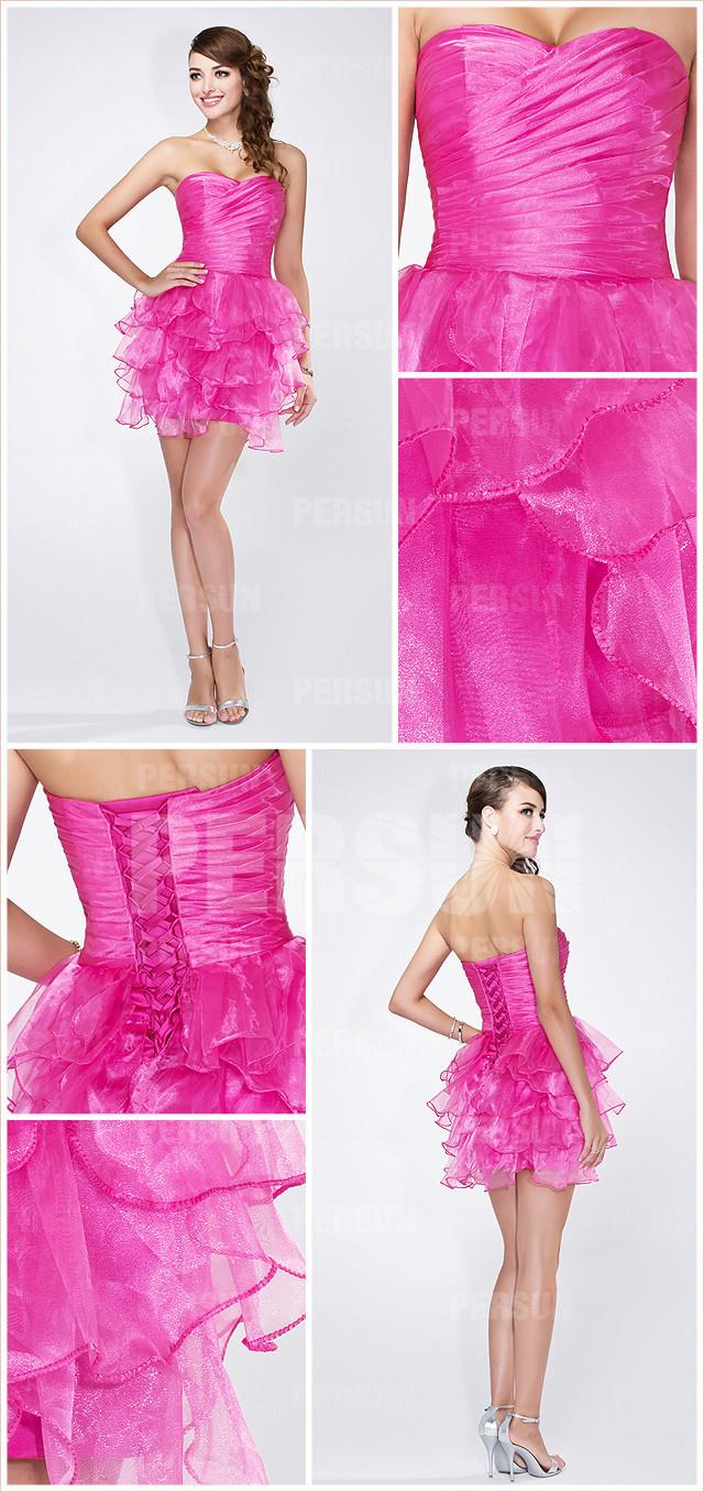 petite robe de cocktail fuchsia bustier cœur avec laçage au dos