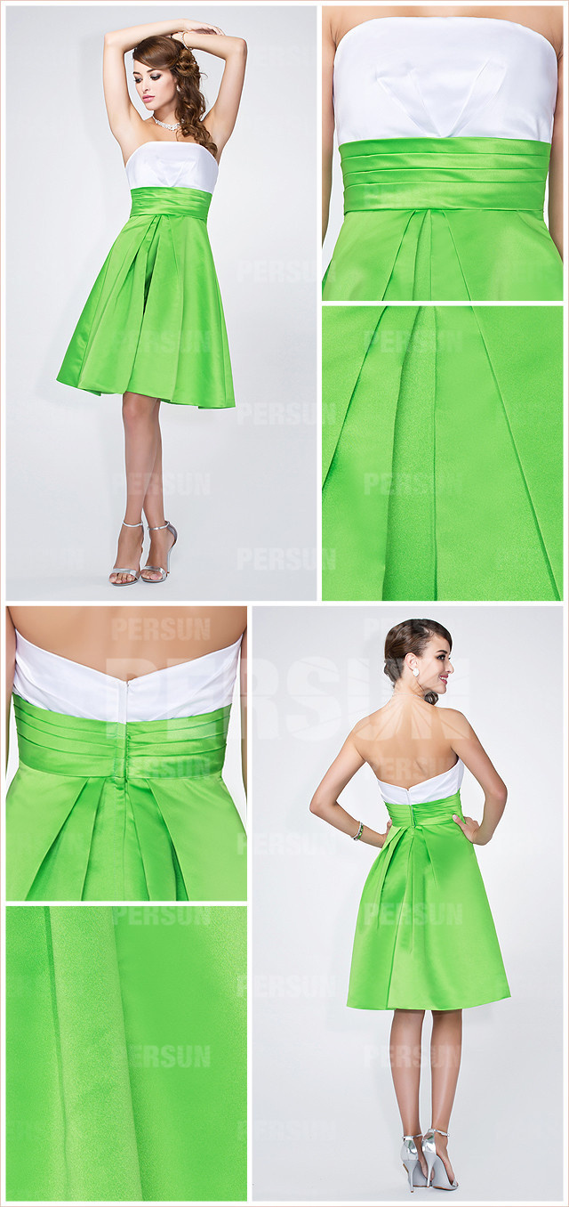 Simple robe demoiselle d'honneur blanche et verte