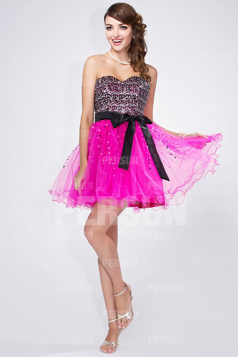 Mini robe bustier dos échancré design bloc couleur fuchsia & noire