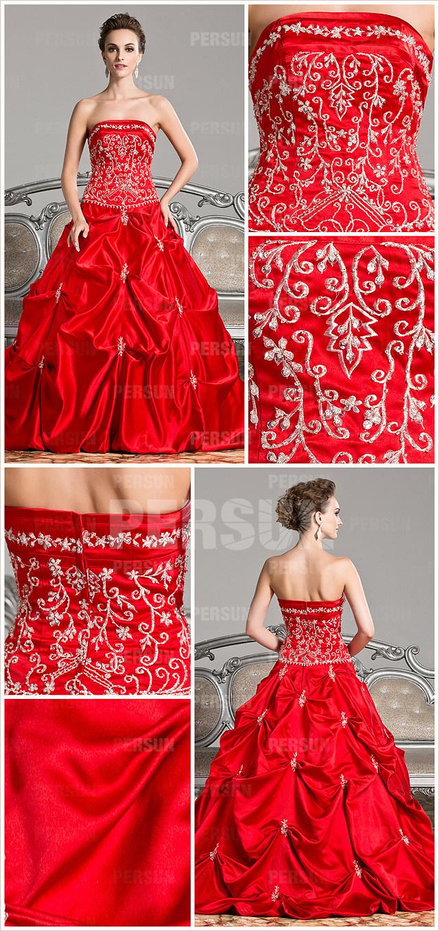 Robe rouge bustier droite pour mariage et soirée