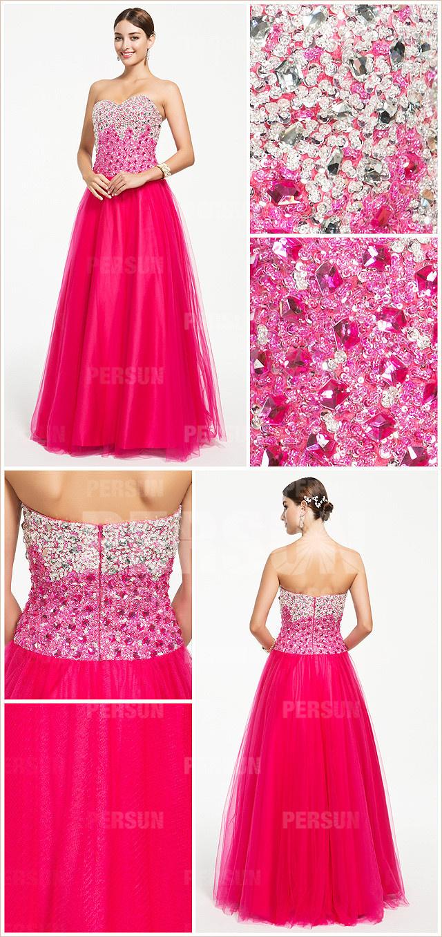 robe de bal rose fuchsia bustier scintillant