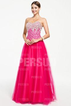 Robe rose bonbon pour bal à bustier scintillant