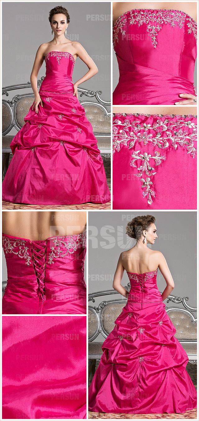Robe de mariée rofuchsiaché ornsallure robe ro ligne Ase pastel longue mousseline à bustier cœur pour Noël