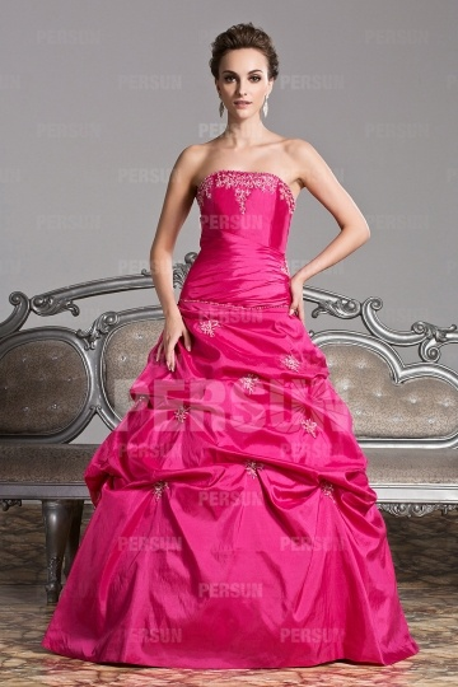 Robe de soirée princesse en taffetas rose fuchsia