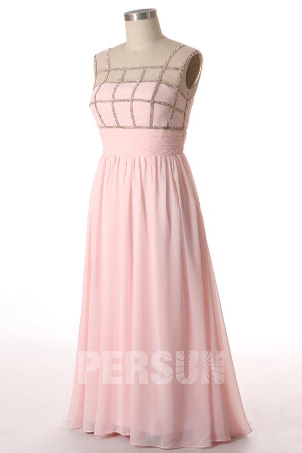 Robe rose pâle empire en mousseline à mancherons transparents