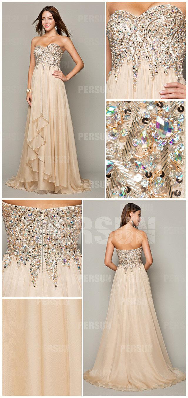 robe champagne de princesse à bustier cœur embellie de strass en tencel