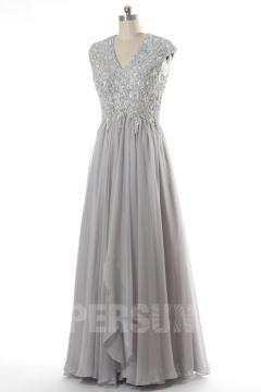 Luxe robe de soirée en tencel à haut orné de strass et sequins