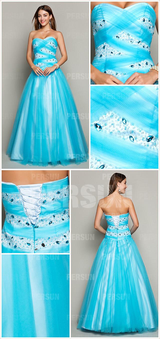 Robe de soirée chic ornée de strassrobe élégante bleu turquoise longue bustier cœur à bijoux en tulle