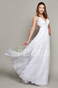 Longue robe cocktail avec bretelles croisées au dos