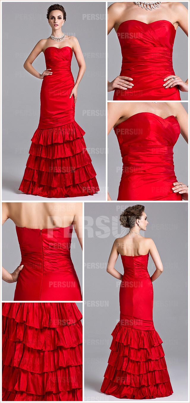 Robe rouge bustier coeur ornée de froufrou en bas pour mariage