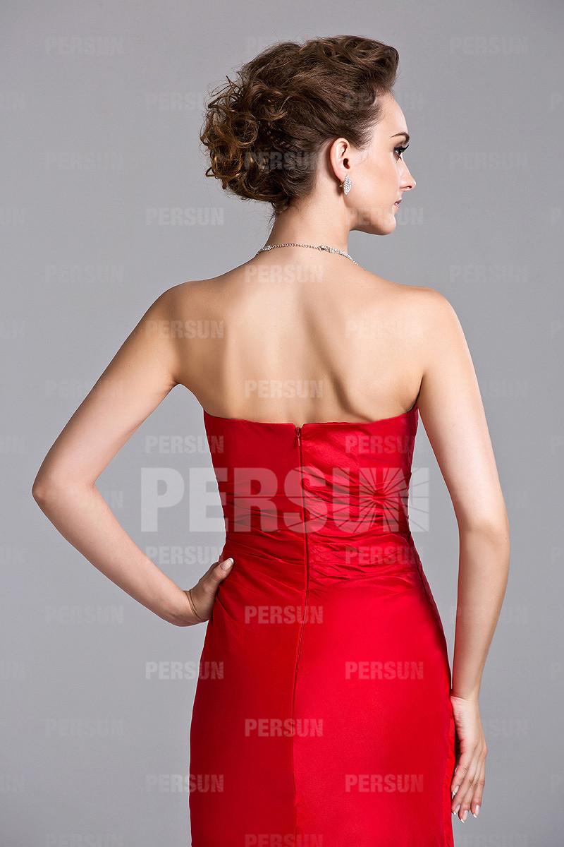 Robe rouge bustier en cœur sirène à jupe volante