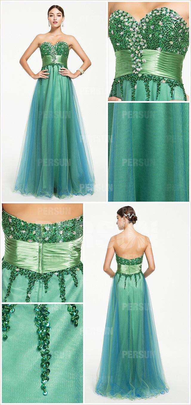 Elégante robe verte bustier coeur ornée de strass pour Noël