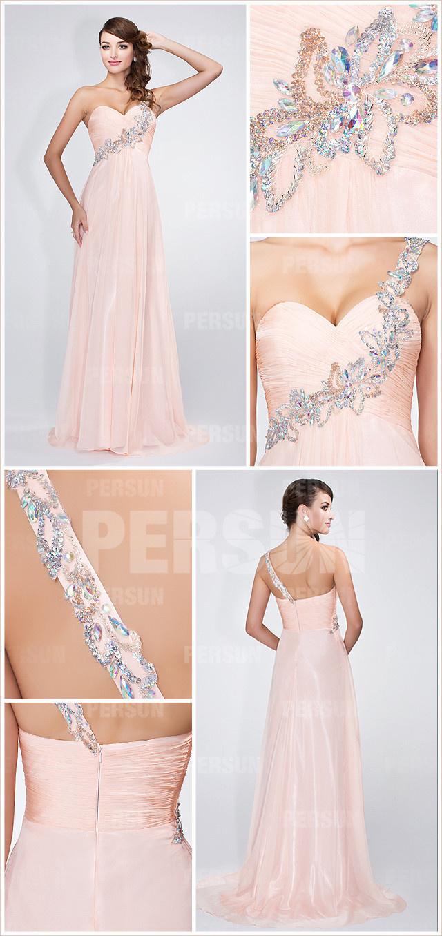 robe de soirée longue rose asymétrique à stass