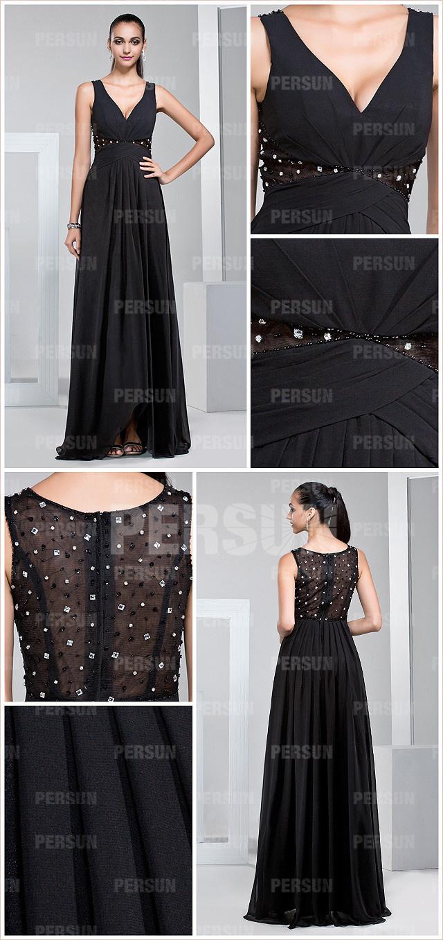 Robe de soirée noire col V pas cher ornée de strass  ligne A pour mariage