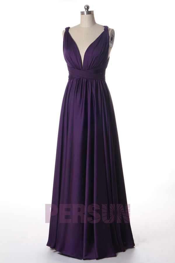 sexy robe de soirée prune col v bustier plissé bretelle avec noeud