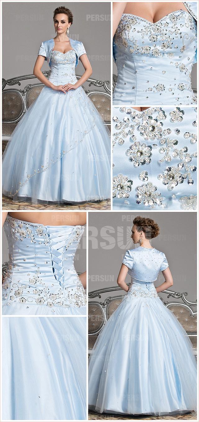 Robe de soirée bleu dragée à jupe gonflée