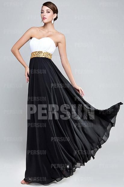 e7ebae2ce17 Robe blanche et noire à ceinture dorée - Persun.fr