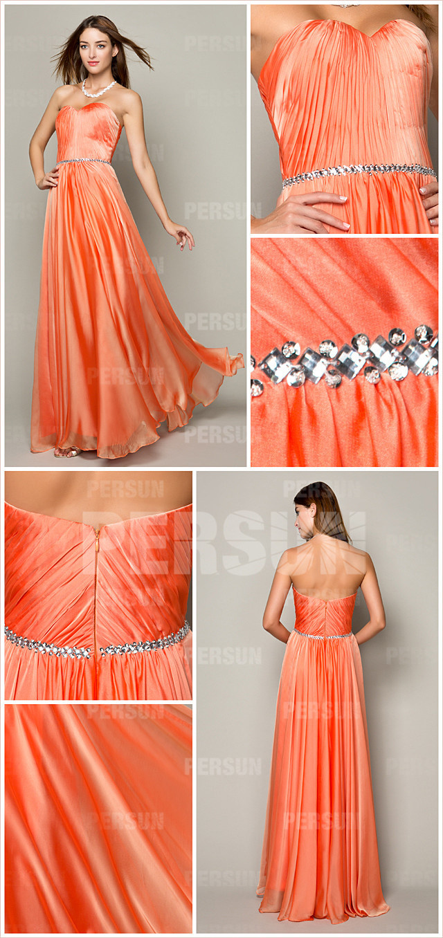 Robe soirée orange à bustier coeur taille avec strass pour mariage en tencel