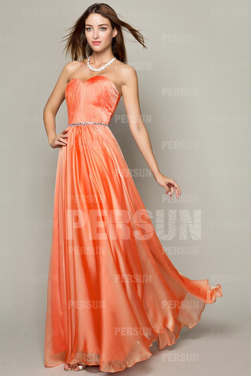 Simple robe soirée longue ruchée