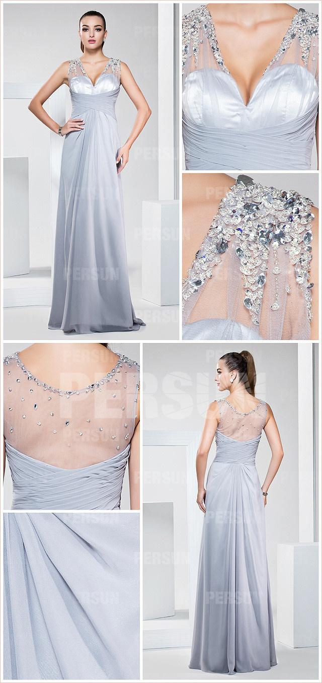 Robe grise soirée longue à col V ornée de paillettes aux épaules & dos transparent