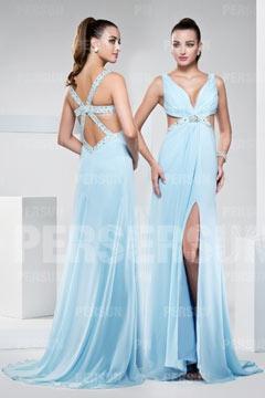 Sexy robe soirée décolleté en V bleu clair