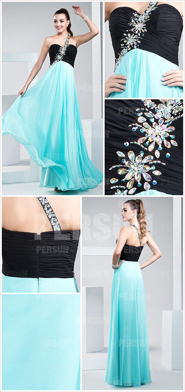 robe noire et bleue à une épaule