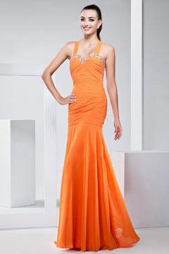 Robe de soirée longue abricot fourreau avec bretelles