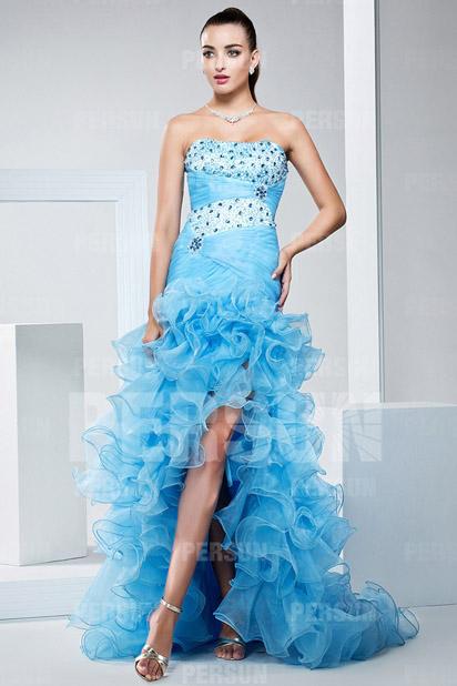 Magnifique Robe de bal bustier bleu à jupe volants