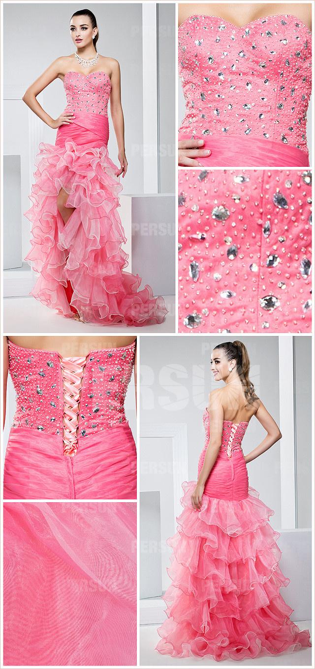 robe rose courte devant longue derrière orné de strass à jupe volants